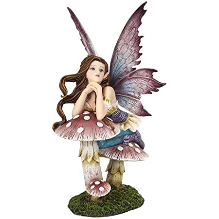 Amazon Com Pacific Giftware 5 25 Inch Fairyland Pink Fairy Leaning On Mushroom Statue Figurine Home Kitchen