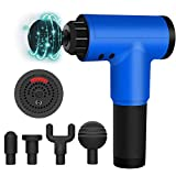 Handheld Massage Gun Deep Tissue Percussion Muscle Neck Back Massager for Pain Relief with 4 Massage Heads,Poratable Electric Body Super Quiet Massager (Blue)