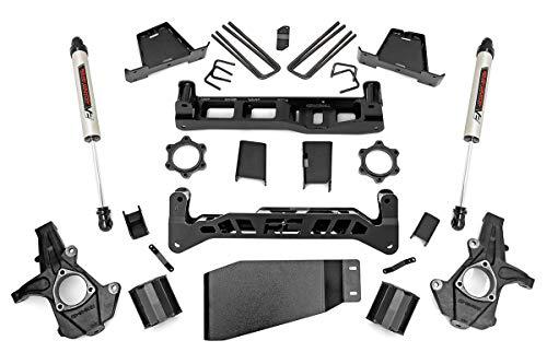 "Rough Country 6"" Lift Kit (fits) 2007-2013 Chevy Silverado GMC Sierra 1500 4WD | V2 Monotube Shocks | Knuckles | 23670"