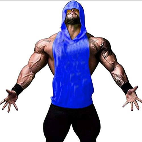 Chaleco para Hombres Deportivo Hoodie Camiseta Sin Mangas de Tirante Sudadera con Capucha Gimnasio Músculo Formación Túnica Tank Top