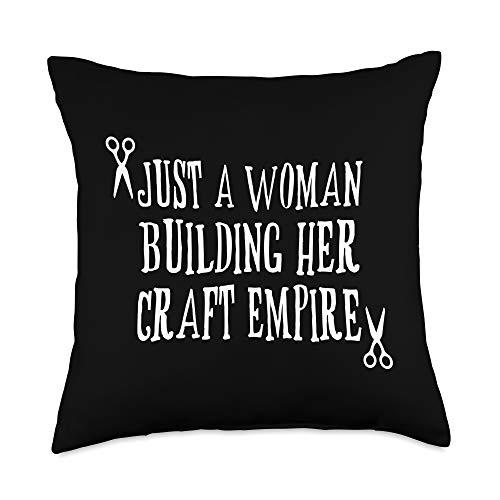 Funny Crafting Quotes and Crafter Gift Ideas Just a Woman Building Empire, Funny Crafting Quote Throw Pillow, 18x18, Multicolor