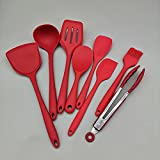 AINEKUI Silicone Cooking Utensils Set, 8 Pcs Kitchen Utensils Set, for Heat Resistant, Cooking Tools Turner Tongs Spatula Spoon Kitchen Gadgets(Red)