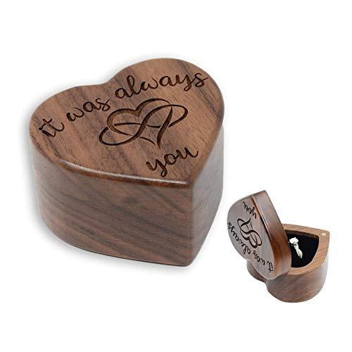 URBAN KRAFTS Engagement Ring Box for Proposal Pocket Size Walnut...