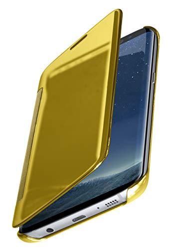 moex Dünne 360° Handyhülle passend für Samsung Galaxy S8 | Transparent bei eingeschaltetem Display - in Hochglanz Klavierlack Optik, Golden