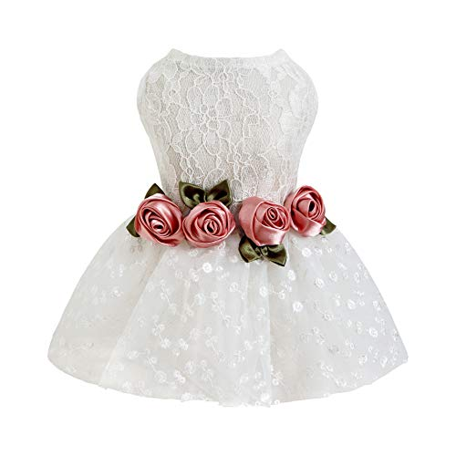 Fitwarm Luxury Rose Lace Pet Dog Weddding Dress Bride Clothes Formal Apparel, XX-Small
