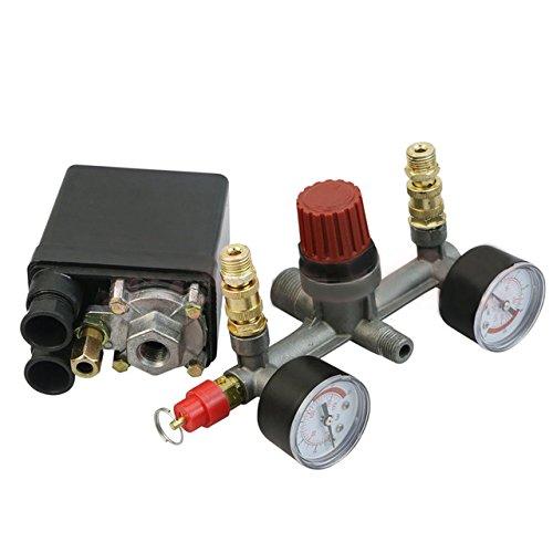 Kangkang@ Air Compressor Pump Pressure Regulator Control Switch Valve Dual Gauge Switching Power Supply