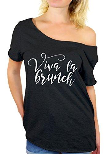 Awkward Styles Women's Viva La Brunch Humorous Graphic Off Shoulder Tops T...