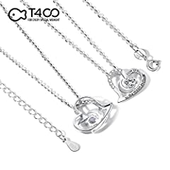 "T400 Jewelers Sterling Silver Necklace I Love You to The Moon and Back Zirconia Heart Pendant Birthday Gifts for Women,18"" Chain #2"