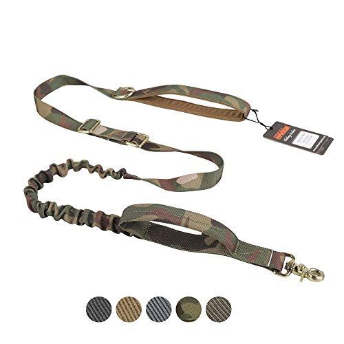 EXCELLENT ELITE SPANKER Taktische Bungee Hundeleine Militärisch verstellbare Polizei Hund Leine Elastisches Leinenseil mit 2 Griffen(Camouflage)