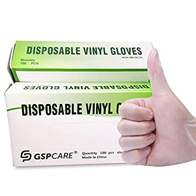 GSPCARE Vinyl Examination Gloves, Large, 100-Count, Latex Free Rubber, Clear Supplies, No Powder, 5 mil Thick Ultra-Strong for Fluid, Blood, Exam, Healthcare, Food Handling Use