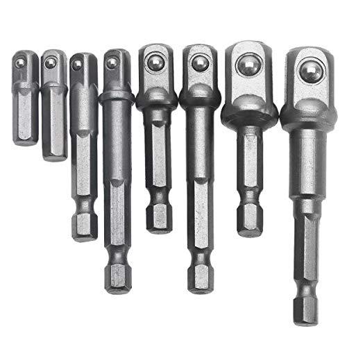 8 Pzas Adaptador de puntas de impacto con vástago hexagonal para puntas de taladro conjunto de puntas nuevas de 1/4' 3/8' 1/2'