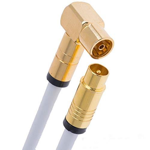 Antennenkabel 4m HD TV Kabel TV Anschlusskabel 135dB Koaxial Stecker auf Buchse 90 Grad gewinkelt (Kupplung) HDTV Kabelfernsehen Koaxialkabel 5-Fach geschirmt Radio UKW DAB (4m, Weiß 1x gewinkelt)