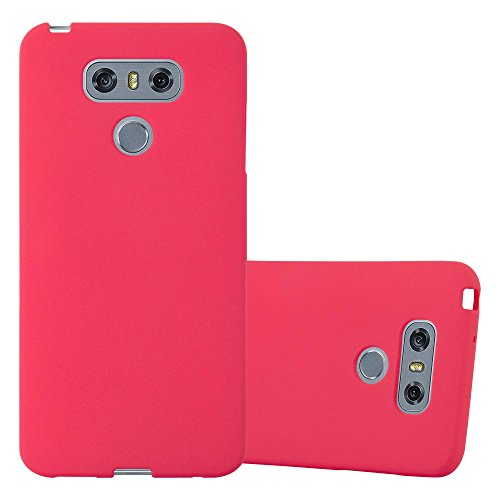 Cadorabo Custodia per LG G6 in FROST ROSSO - Morbida Cover Protettiva Sottile di Silicone TPU con Bordo Protezione - Ultra Slim Case Antiurto Gel Back Bumper Guscio