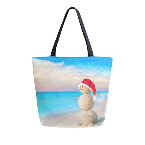 Weihnachtssandy Schneemann in Rot Santa Claus Hut Ocean Sunset Strand Canvas Tote Bag Große Schultertasche für Damen und Mädchen Einkaufstaschen wiederverwendbare Canvas Handtaschen