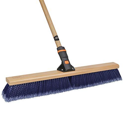 "24"" SWOPT Multi-Surface Premium Push Broom – 60"" Comfort Grip Wooden Handle – EVA Foam Comfort Grip Provides Efficiency & Comfort – Organize & Save with Interchangeable Handle"