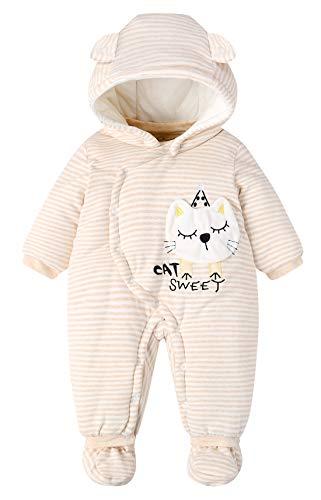 Happy cherry - Conjunto de Mono Bebés para Invierno Mameluco Jumpsuit Calentito de Algodón con Capucha Zapatos Desmontables Patrón de Gato