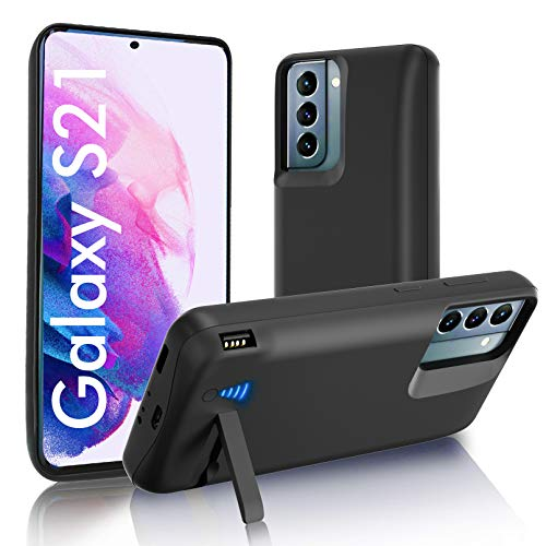 """SlaBao Galaxy S21 Battery Case, Kickstand & Dual Device Charging & Priority Charging Case, 4800mAh Rechargeable Backup Charger Case for Samsung S21 5g(6.2"""") Black"""