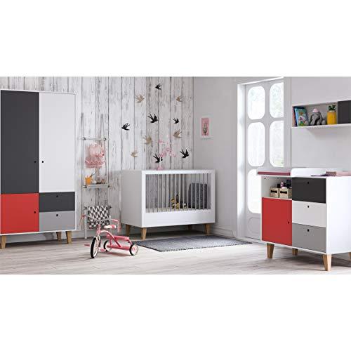 Chambre complète lit évolutif 70x140 - commode à langer - armoire 2 portes Concept - Rouge