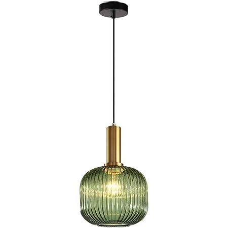 MZStech Lampe suspendue moderne, suspension en verre vert avec douille de suspension en cuivre doré