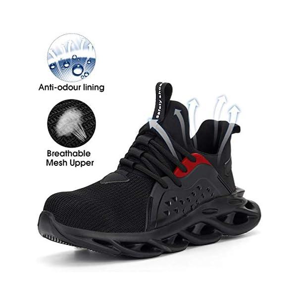 LouisPA Men's Steel Toe Safety Work Shoes, Non-Slip Reflective Design Work Sneaker Lightweight Breathable Outdoor Sport Footwear