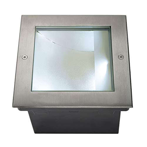 SLV Bodeneinbauleuchte DASAR 225 / LED Spot für Terrasse, Outdoor-Strahler, Einbau-Lampe Garten, Bodenlampe für Außen / IP67 4000K 34.0W 1620lm edelstahl