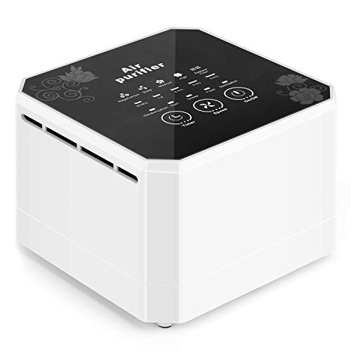 potulas Air Purifier with True HEPA Filter, 3-in-1 Filter Mini Desktop Air Cleaner Small Air Purifier for Personal Office, Bedroom, Home, Small Spaces