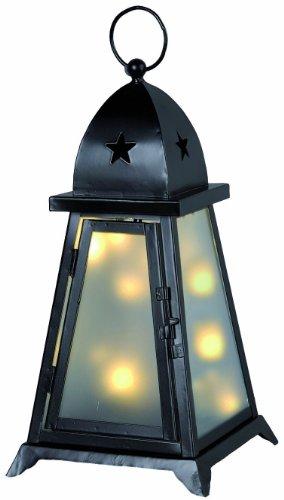 Star 861-02 Lanterne de Jardin Fyris Couleur: Noir ca. 38 cm x 20 cm, 10 LED Blanc Chaud avec transformateur, extérieur, Boite coloré