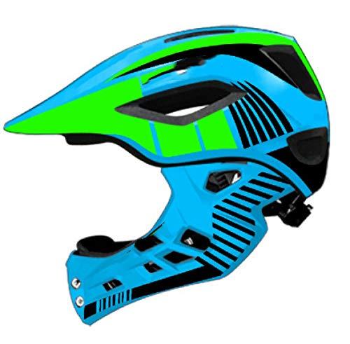 KYLong Kinderhelm Fahrradhelm Unruh Fahrrad Kind Integral Sporthelm LED Rücklicht Reiten Skating Helm-Blue_S