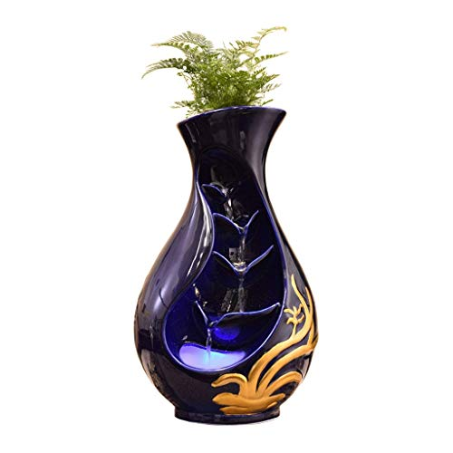 Indoor Fountains Desktop Fountain Ceramic Vase vier lagen Waterval en Nebulizer Woninginrichting Fountain Decor van het Huis en de Giften (Kleur: Blauw, Maat: S) zhihao (Color : Blue, Size : Small)