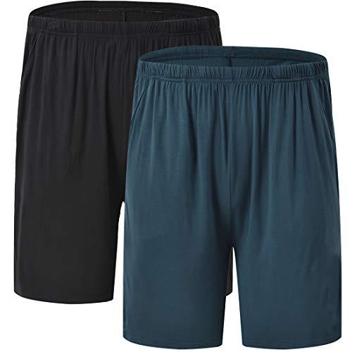 JINSHI Herren Schlafanzughosen Kurz Pyjamahose Sommer Nachtwäsche Weich Freizeit Shorts 2er Pack Schwarz+Blau XL