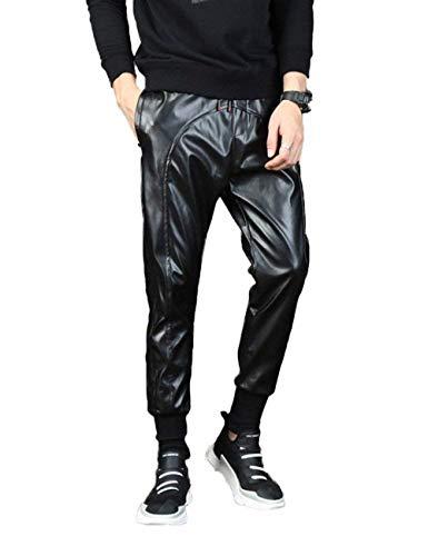 Adelina Herren Faux Leder Hose Casual Jungen Hosen Drawstring Unifarben Mit Taschen Lederleggins Trousers Pants (Color : Schwarz, Size : 2XL)