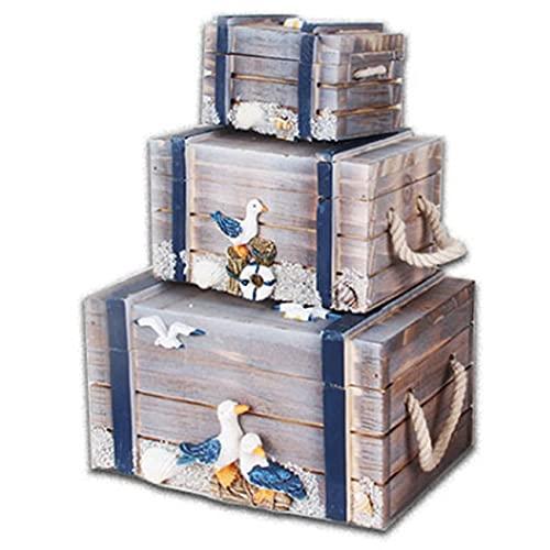 Soaying Caja de Madera de Joyas, Organizador de Almacenamiento Artesanal de Madera Costero NáUtico Playa Mar OcéAno DecoracióN del Hogar -Ave Marina