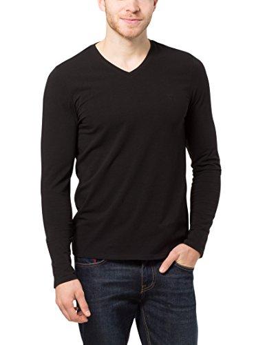 James Tyler Camiseta de manga larga de hombre, con cuello de pico de filigrana, Negro, S