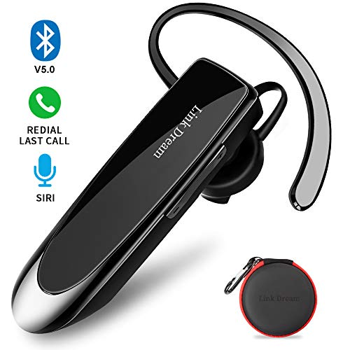 Bluetooth Earpiece Link Dream Wireless Headset with Mic 24Hrs Talktime Hands-Free in-Ear Headphone Compatible with iPhone Samsung Android Smart Phones, Driver Trucker (Black) (Best Voice Command For Android)