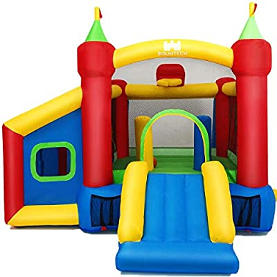 Inflatable Bounce House with Bounce Trampoline,Basketball Rim,Dart Target, Mystery House and Football Play Area,Suitable for Children Indoor or Outdoor Playhouse ,Without Blower from WATERJOY