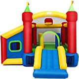 Inflatable Bounce House with Bounce Trampoline,Basketball Rim,Dart Target, Mystery House and Football Play Area,Suitable for Children Indoor or Outdoor Playhouse ,Without Blower