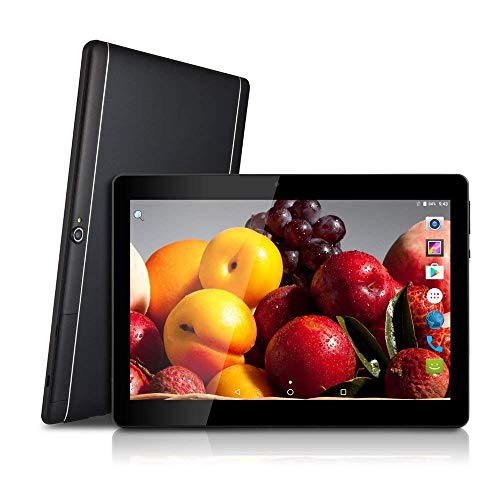 Android 9.0 OS Tablet 10 pollici 3G WiFi sbloccato Tablet con doppio slot per schede SIM 4 GB RAM 64 GB ROM Processore quad core Supporto fotocamera Netflix Youtube Chiamata telefonica (White) (Black)