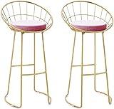 JYV Conjunto de taburetes de Comedor contemporáneos Conjunto de taburetes, Asiento de Terciopelo Rosa romántico, Desayuno/badroom (Color : 75cm, Size : Set of 2)
