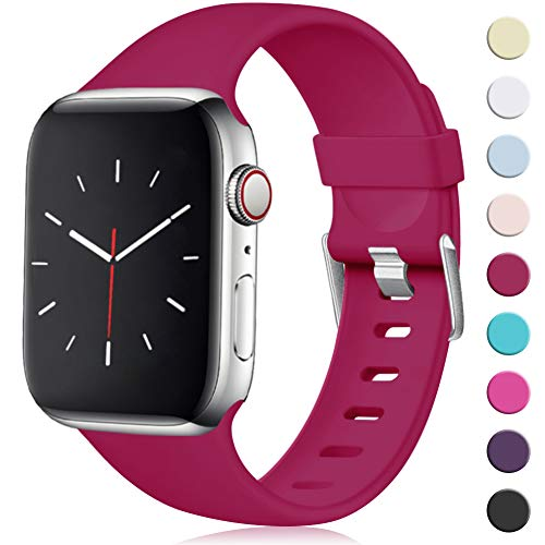 Maledan Compatibile per Cinturino Apple Watch 44mm 42mm, [Classica Fibbia] Morbido Cinghia di Ricambio Regolabile in TPU per Apple Watch Series 5/4/3/2/1 S/M Rossa