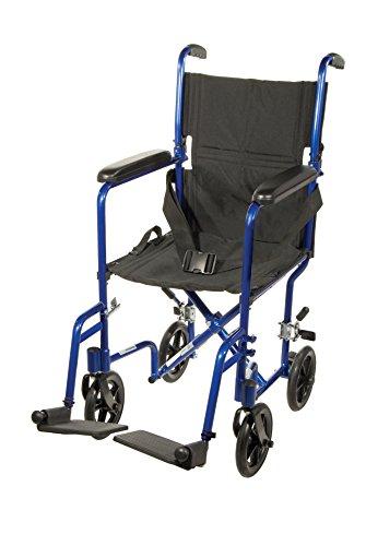 """Drive Medical Deluxe Lightweight Aluminum Transport Wheelchair, Blue, 17"""""""
