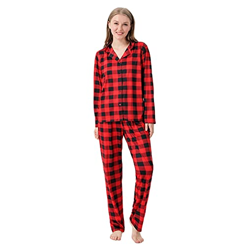 Pijama Familias Conjuntos de Navidad para Hombre Mujer Niño Niña Bebe Regalo a Juego a Cuadros Suaves Ropa de Dormir Invierno Divertido Manga Larga Tops y Pantalones 2 Piezas Camisón Casual Homewear