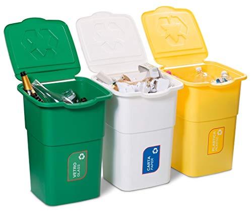 Tris mastelli pattumiera contenitori componibili 3PZ x 50LT per raccolta differenziata rifiuti immondizia bidoni secchio colorati bianco giallo verde con adesivi vetro carta plastica