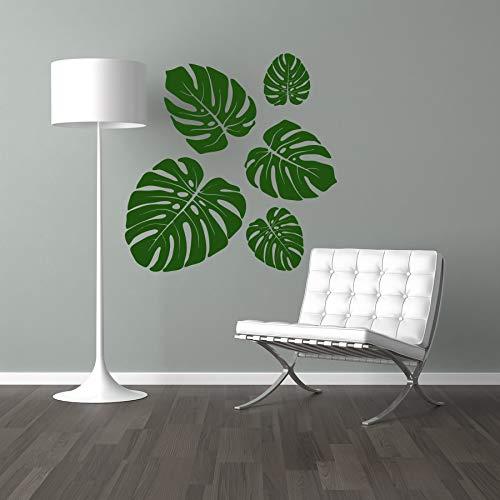 StickerMarket Tropical Jungle Set Monstera Blatt Sticker Wandtattoo Wandaufkleber Wand Modern Skandinavisch Selbstklebend (Grün)
