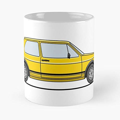 5TheWay Mk Vw Mug Golf Yellow GTI Best 11 oz Kaffeebecher - Nespresso Tassen Kaffee Motive