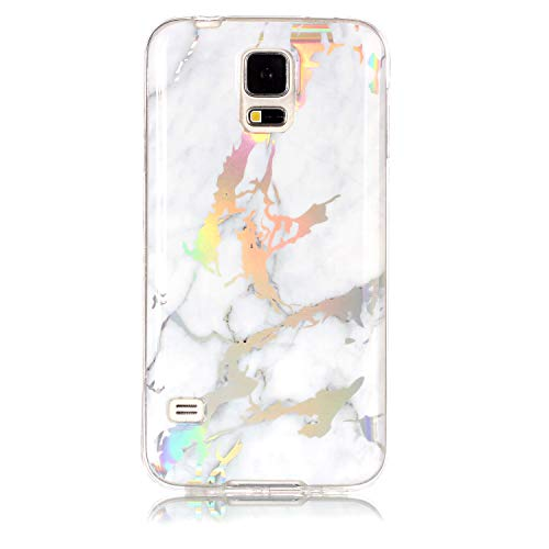 Lomogo Samsung Galaxy S5 Hülle Silikon Marmor, Schutzhülle Stoßfest Kratzfest Handyhülle Case mit Marmormuster für Samsung Galaxy S5 - LOYHU20066 Weiß