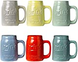 Set of 6 Novelty Mason Jar Mugs with Handle - Ceramic, Multicolor Mugs for Coffee, Tea and More - 15oz Embossed'Drink' Decorative Mason Jar Mugs for Beer - Farmhouse Kitchen Dcor