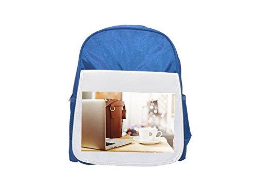 Desk, Table, Laptop, Notebook, Coffee printed kid's blue backpack, Cute backpacks, cute...