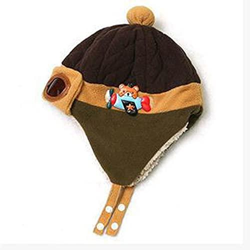 QiKun-Home Gorro para bebé, Gorro Liso de Invierno, Gorro de piloto cálido para niño y niña, Gorro de Lana Lei Feng, Gorro de Punto para bebé, Gorro de Felpa, Color café