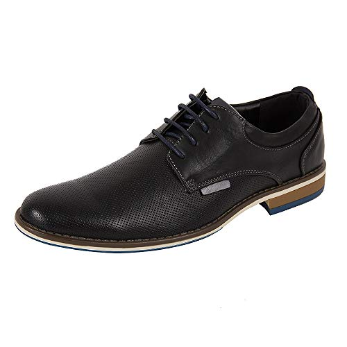 Dress Shoes for Men, Casual Leather Oxford Shoes with Lace-up Classic Formal Dress Shoes, Modern Business Walk Leather Shoes (10 M US, Black-02)