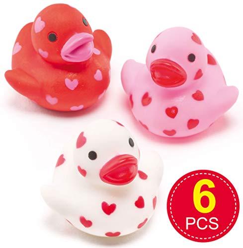 Baker Ross AF217 Mini Heart Schwimmende Gummiente (6 Stück) Perfekter Partybeutel für Kinder, Sortiert, 12 x 3 x 7 cm